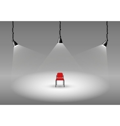 Empty photo studio with spotlights and chair vector image vector image
