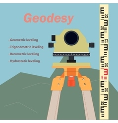 Geodesy-leveling and levelling rejka vector image