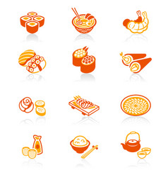 japanese sushi-bar icons - juicy series vector image vector image