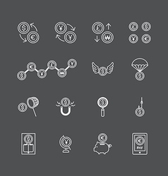 linear web icons set - business money currency coi vector image vector image