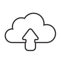 monochrome contour with cloud upload service vector image vector image