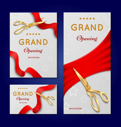 Ribbon cutting with scissors grand opening vector