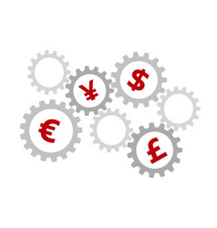 Rotating gears with currency symbols inside vector