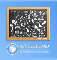 school wooden board with icons vector image
