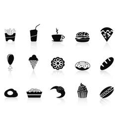 black fast food icon vector image