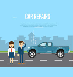 car repairs banner with people near broken pickup vector image
