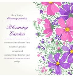 Card with flowers garden vector