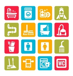colorful cleaning icons vector image vector image