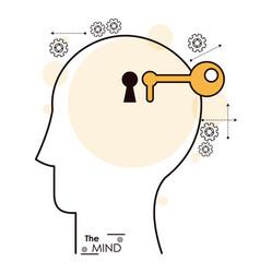 mind human head key hole gear vector image