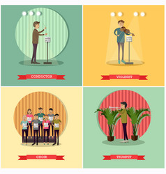 set of orchestra concept posters in flat vector image