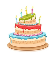 Sweet birthday cake with vector image vector image