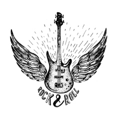 vintage label with rock and roll forever vector image
