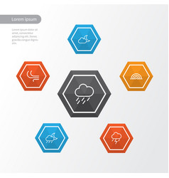 Air outline icons set collection of night vector