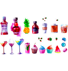 Alcohol and sweets watercolor vector