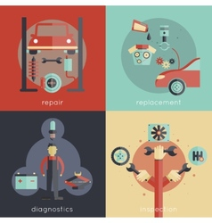 Auto Service Flat vector image