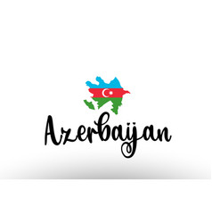 Azerbaijan country big text with flag inside map vector
