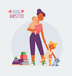 babysitter nanny with baby and girl vector image
