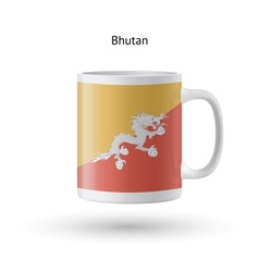 Bhutan flag souvenir mug on white background vector