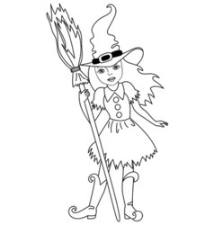 Black and White Witch - Halloween vector image