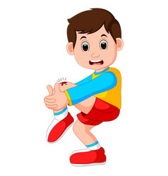 Boy crying with a scratch on his knee vector