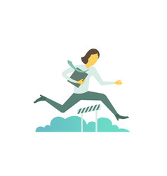 Businesswoman jumps overcoming the barrier vector