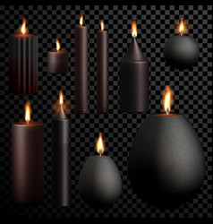 Candles 3d realistic black set flame burning vector