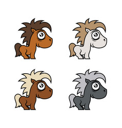 cartoon cute pony character in various colors vector image