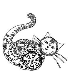 cat sitting zentangle stylized vector image