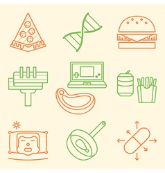 Causes obesity icon set vector