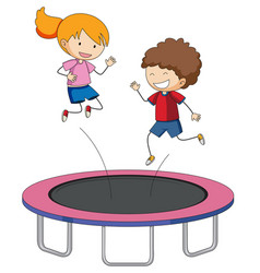 children jumping on trampoline vector image