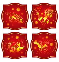 chinese horoscope set monkey rooster dog pig vector image