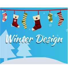 christmas socks on snowfall background vector image