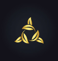 Circle leaf gold logo vector