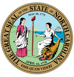 coat arms north carolina is a state in usa vector image