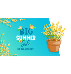 Colorful flowers and text lettering ad banner vector