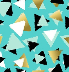 Colorful seamless pattern with gold triangles vector