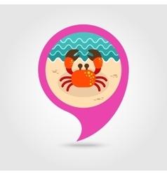 Crab pin map icon Summer Vacation vector