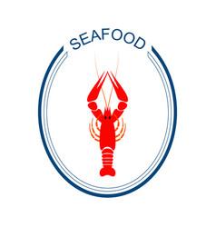 crayfish logo red river lobster langoustine vector image