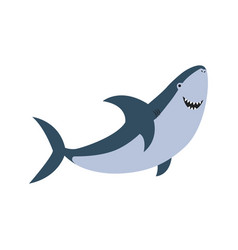 cute flat shark cartoon vector image