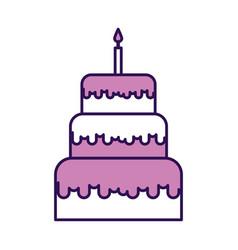 Cute purple birthday cake cartoon vector