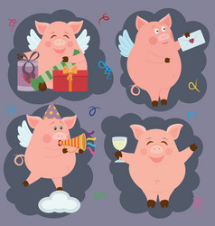 differentl funny piggie vector image