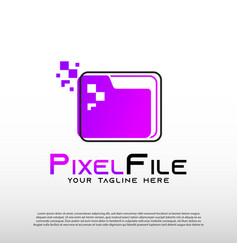 Digital document logo with pixel data concept vector