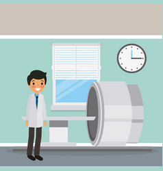 Doctor in coat with scan machine diagnosis clock vector