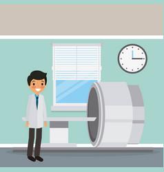 Doctor in coat with scan machine diagnosis clock vector