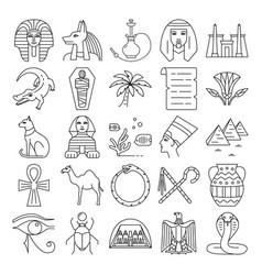 egypt icons set in thin line style vector image