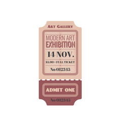 Entry ticket to modern art exhibition isolate icon vector