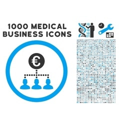 Euro Payment Clients Icon with 1000 Medical vector