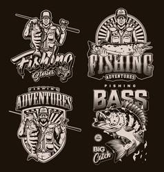 Fishing vintage badges vector