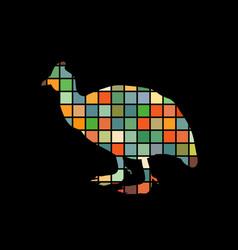 Galeeny bird color silhouette animal vector