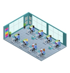 Garment Factory Isometric Composition vector